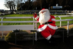 A Santa Claus during Tingle Creek Day at Sandown Park