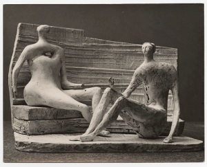 7 Henry Moore_Two Seated Figures against a Curved Wall (plaster maquette for UNESCO commission 1956-57) 1957
