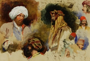 Richard Dadd. Portrait studies of figures in Eastern Costume (1842). Pen, brown ink, watercolour and gum Arabic. Winchester College
